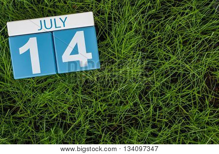 July 14th. Image of july 14 wooden color calendar on greengrass lawn background. Summer day, empty space for text.