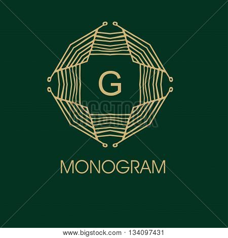 elegant monogram design. Vector  linear frame and monogram illustration. Trendy linear monogram and linear frame. Monogram