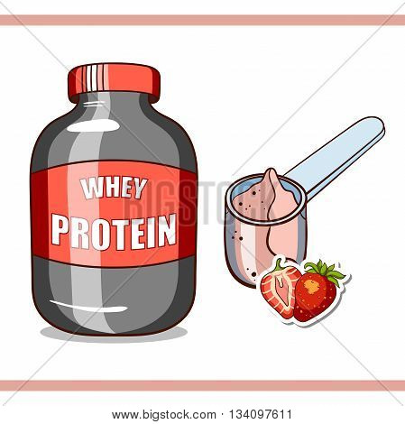 Plastic jar and scoop with strawberry whey protein on white background. Sport nutrition. Vector illustration.