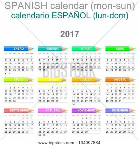 2017 Crayons Calendar Spanish Version