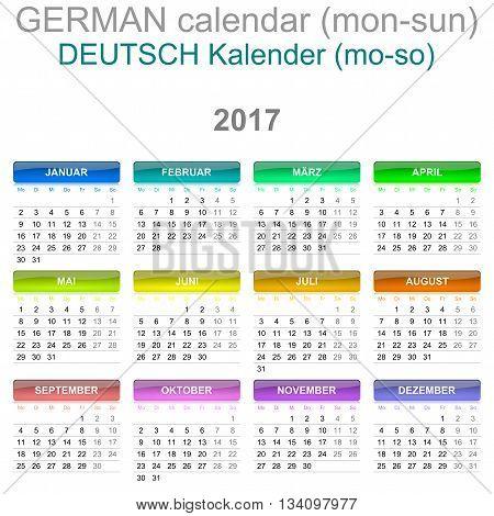 2017 Calendar German Language Version Monday To Sunday