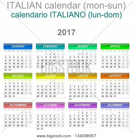 2017 Calendar Italian Language Version Monday To Sunday
