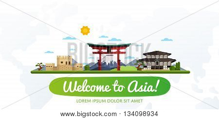 Welcome to Asia travel on the world concept traveling flat vector illustration. Worldwide traveling. Asia landmarks. Famous Asian buildings. Asian architecture in cartoon style. Asia travel concept. World travel background. Travel banners. Time to travel.