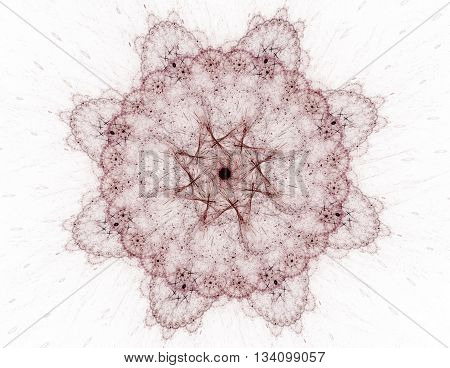 Lacy Colorful Clockwork Pattern. Digital Fractal Art Design. Abstract Design Of Sacred Symbols Signs