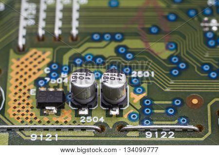 Electronic circuit board closeup. Computer electronic component