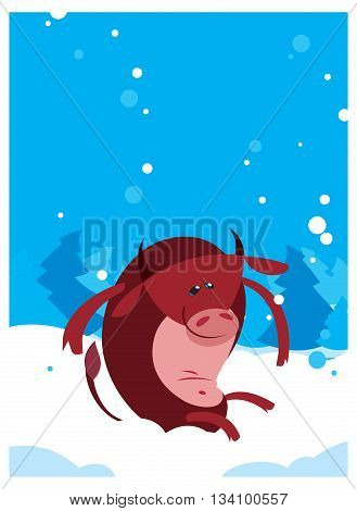 The Red vector flat funny Ox Bull winter background