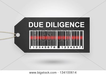 Due diligence price tag with barcode and grey radial gradient background