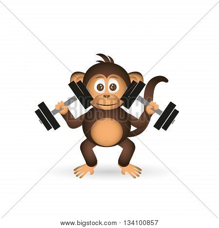 Cute Chimpanzee In Gym With Dumbbells Sport Little Monkey  Eps10