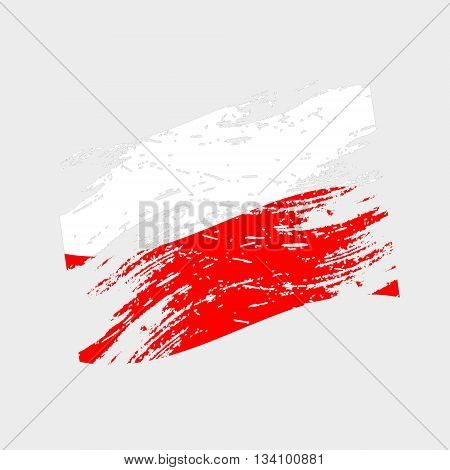 Color Poland National Flag Grunge Style Eps10