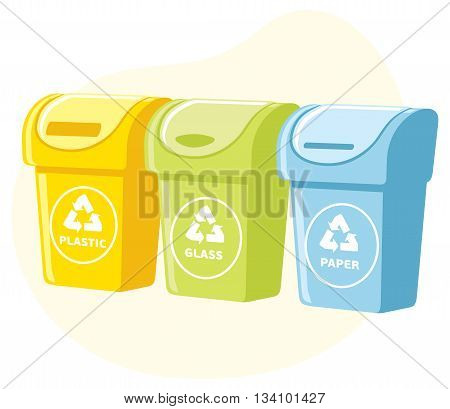 Different colored recycle waste bins vector illustration, Waste types segregation recycling. plastic, paper, glass waste.