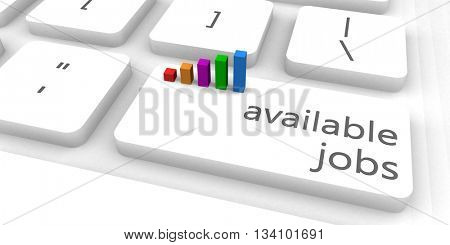 Available Jobs as a Fast and Easy Website Concept 3D Illustration Render