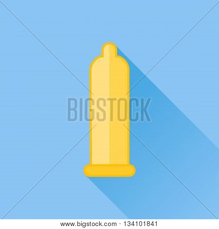 Condom flat icon with long shadow on blue background