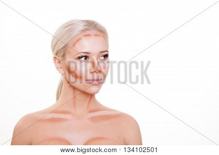 Make up woman face. Contour and Highlight makeup. Professional Contouring face make-up sample isolated on white