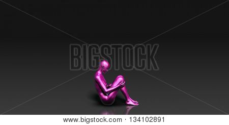 Yoga Class, the Fetal Comfort Basic Pose Stance 3D Illustration Render