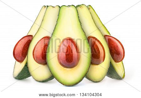 Group of five avocados with oily stones isolated on white, with clipping path