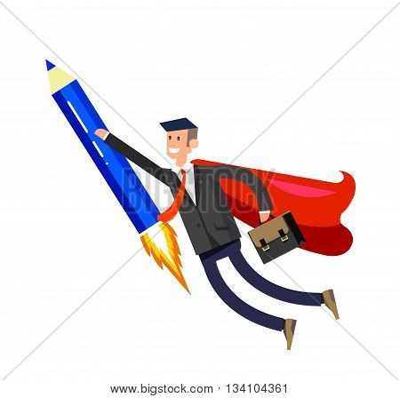 Vector detailed character businessman with startup. Flat style website banner startup concept web infographics. Rocket pencil fly with business hero