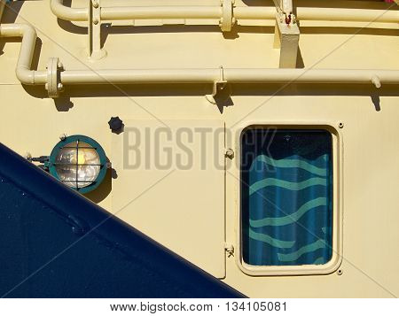 Supply utility ship vessel in close detailed point of view