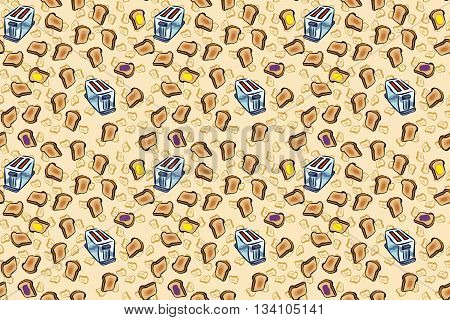 Toasty wallpaper pattern, for a fun breakfast background