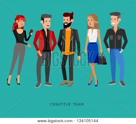 Creative team people. Teamwork, art director and designer, programmer and boss team leader, group portrait creative team. Design studio people, creative job people