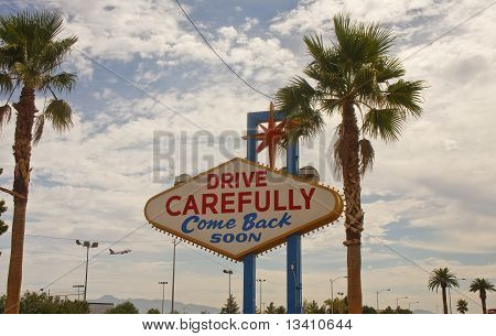 Las Vegas Sign With Airplane