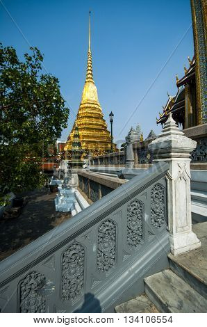 Golden Phra Si Rattana Chedi at the Temple of the Emerald Buddha (Wat Phra Kaew) in Bangkok Thailand