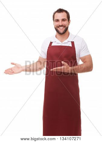 Smiling Man With Apron Showing Empty Copyspace On White Background
