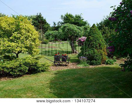 Attractive beautiful English style formal garden classical creative gardening