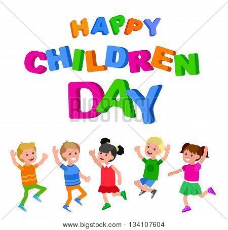 Happy childrens day background. Happy childrens day card. Lettering for childrens day. Childrens day lettering background