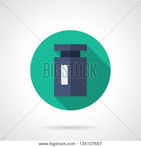 Single blue calibration weight with long shadow design. Equipment and accessories for mass measure in market, drugstore, laboratory. Metrology symbol. Round flat color style vector icon.