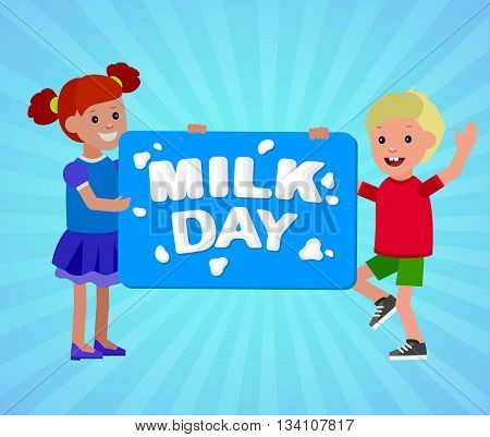 Concept poster to advertise milk. Vector illustration with milk lettering. Card for world Milk day. Child with banner for Milk day