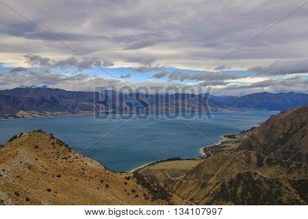 Landscape in Central Otago New Zealand. Lake Hawea