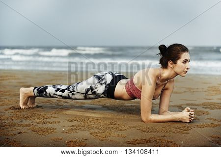 Woman Planking Stretching Flex Training Healthy Lifestyle Beach Concept