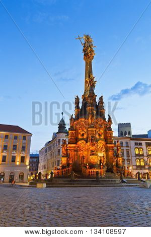 OLOMOUC, CZECH REPUBLIC - JUNE 05, 2016: Holy Trinity Column in the main square of the old town of Olomoucc, Czech Republic on June 05, 2016.
