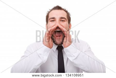 Portrait Of Man With Hand To Mouth Screaming, Isolated On White Background