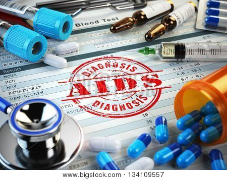 AIDS disease diagnosis. Stamp, stethoscope, syringe, blood test and pills on the clipboard with medical report. 3d illustration