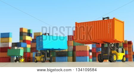 Forklift trucks with cargo containers in storage area. Delivery  or shipping background concept. 3d illustration