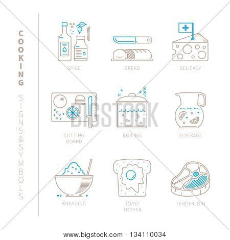 Set Of Vector Cooking Icons And Concepts In Mono Thin Line Style