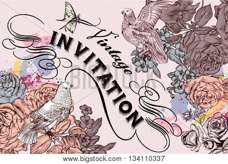 Vector invitation card with roses doves and flourishes for design