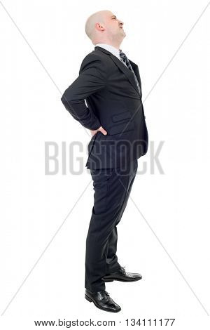 Young businessman with strong back pain, full length, isolated on white background