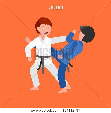 Cute vector character child. Illustration for martial art judo poster. Kid wearing kimono and training judo. Vector fun child. Illustration of Kid and Sport. Child take judo fighting pose