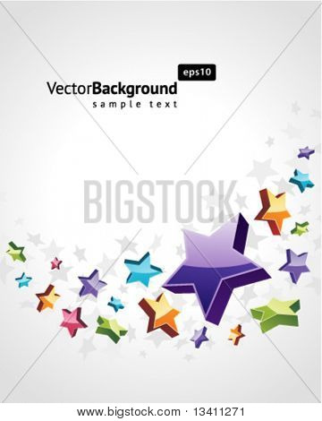 Fly colorful stars vector background background