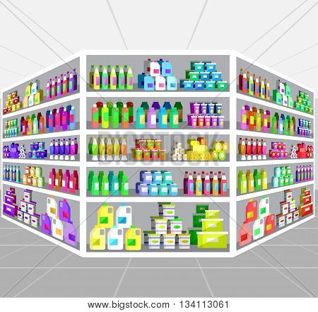 Concept illustration for Shop, supermarket. Vector supermarket shelves. Healthy eating and eco food in supermarket. Vector flat illustration for supermarket.