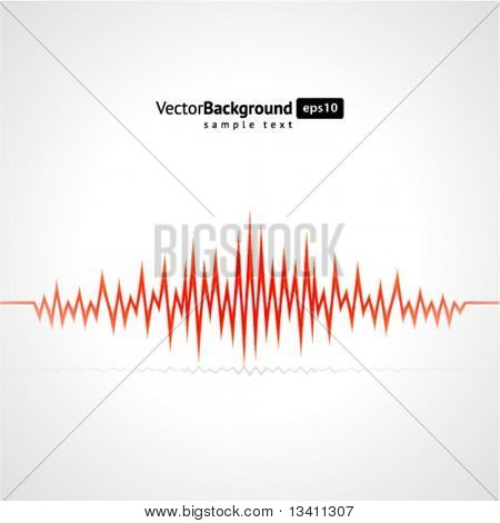 Red waveform vector background