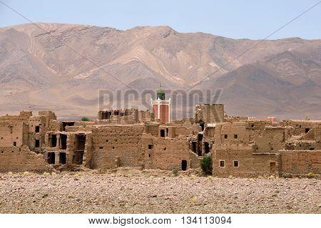Traditional berber village in Atlas Mountain, Morocco