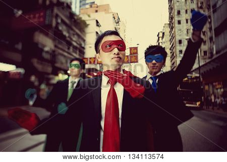 Business Superheroes in Hongkong Confidence Concept