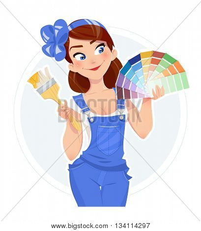 Beautiful girl with paint brush and color swatches vector illustration woman painter lady in overalls builder uniform cartoon character
