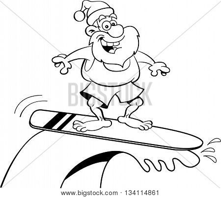 Black and white illustration of Santa Claus riding a surfboard.