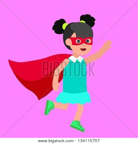 Cute vector character child. Superhero kid. Happy kid illustration. Detailed character child. Super hero kids playing, fly, Super kids in action. Vector fun child.