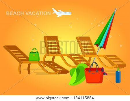 beach chaise longue in different design, vector set illustration isolated on background