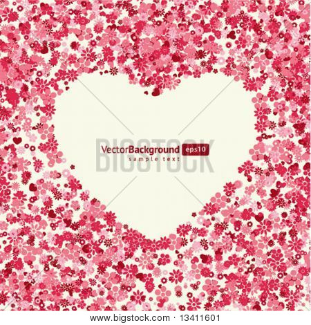 Floral heart shape vector background